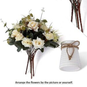 Artificial Rose Bouquets with Ceramics Vase Flowers Decoration